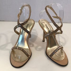 Bebe Gold Sandals With Iridescent Bugle Beads Sz 6